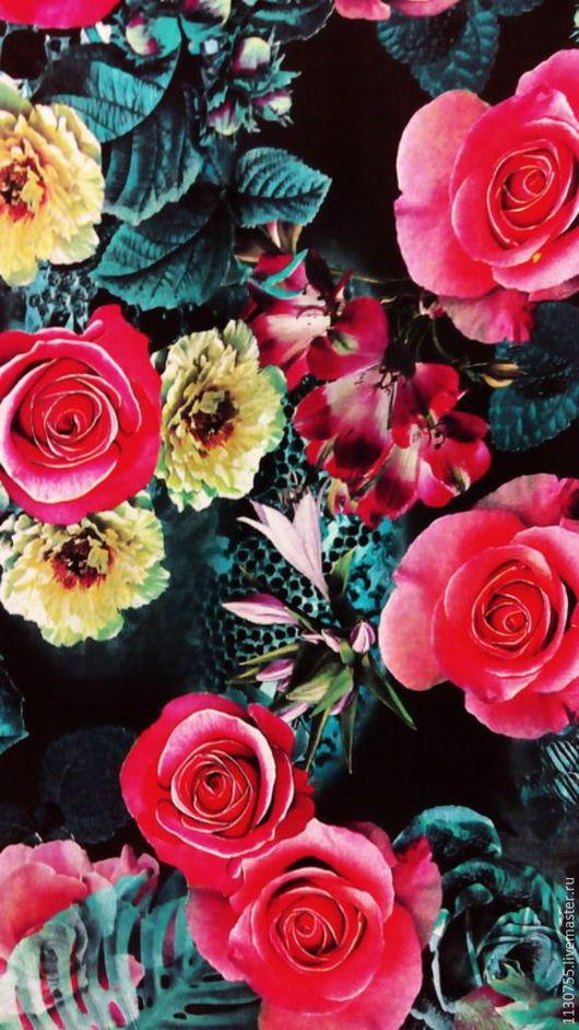 Шитье ручной работы. Ярмарка Мастеров - ручная работа. Купить ткань штапель стрейч розы розы. Handmade. Комбинированный