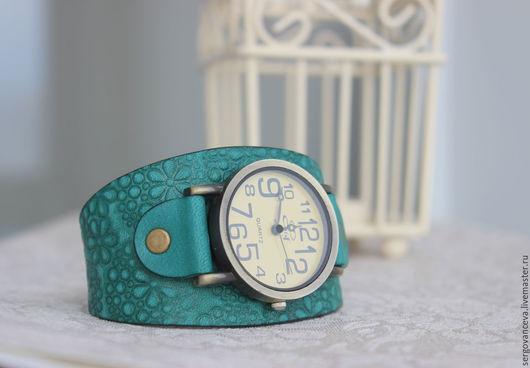 """Часы ручной работы. Ярмарка Мастеров - ручная работа. Купить Часы на широком ремешке """"Бирюзовая Катунь"""". Handmade. Тёмно-бирюзовый"""