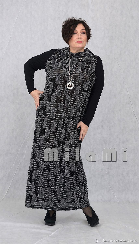 Платье прямое черный люрекс рюш с черными рукавами Арт. 3756, Платья, Киров, Фото №1