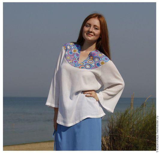 Блузки ручной работы. Ярмарка Мастеров - ручная работа. Купить Пляжная блузка (белая с голубой кокеткой). Handmade. Лето в деревне