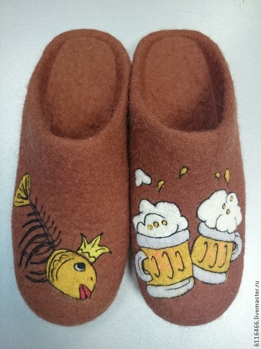 Обувь ручной работы. Ярмарка Мастеров - ручная работа. Купить домашние валяные тапочки-шлепкииз нат. шерсти Последнее желание. Handmade.
