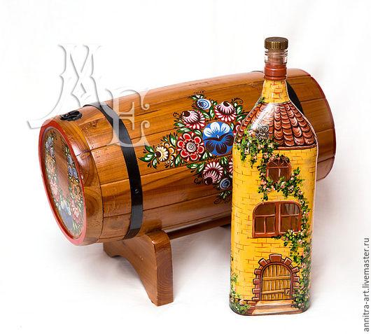 Персональные подарки ручной работы. Ярмарка Мастеров - ручная работа. Купить Бочка для вина.. Handmade. Коричневый, необычный подарок, стекло