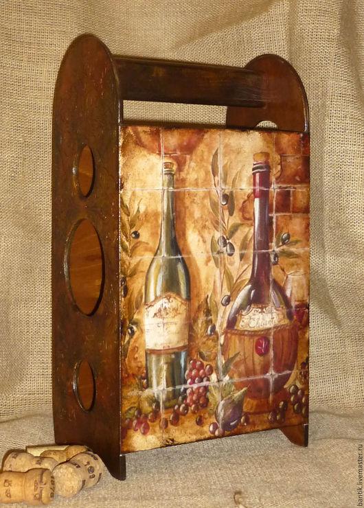 """Подарки для мужчин, ручной работы. Ярмарка Мастеров - ручная работа. Купить Бутылочница """"Виноград"""". Handmade. Коричневый, для кухни, авторские подарки"""