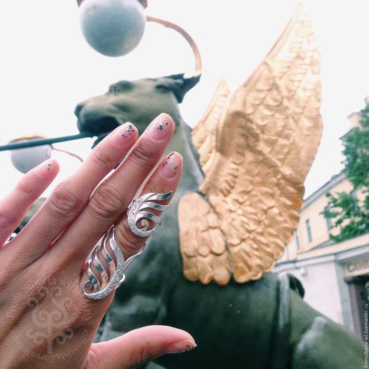 Кольца ручной работы. Ярмарка Мастеров - ручная работа. Купить Кольцо на весь палец серебро 925 (арт. 2172к). Handmade.