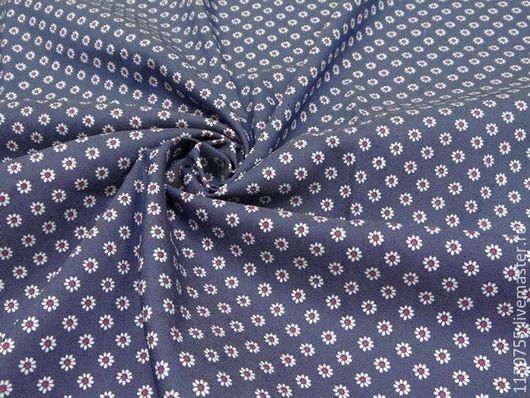 Шитье ручной работы. Ярмарка Мастеров - ручная работа. Купить ткань джинс  стрейч синий ромашки. Handmade. Синий, ткань