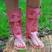 Обувь ручной работы handmade. Livemaster - original item sandals boots genuine leather pale pink. Handmade.