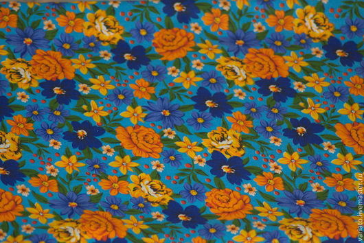 """Шитье ручной работы. Ярмарка Мастеров - ручная работа. Купить Хлопок """"Желтые цветы на голубом фоне"""" бязь. Handmade. Бязь"""