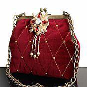 Сумки и аксессуары handmade. Livemaster - original item Evening bag, velvet handbag, blue, brooch, vintage. Handmade.