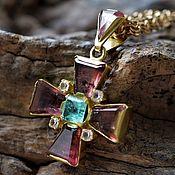 Украшения handmade. Livemaster - original item Cross with tourmaline, emerald and topaz. Handmade.