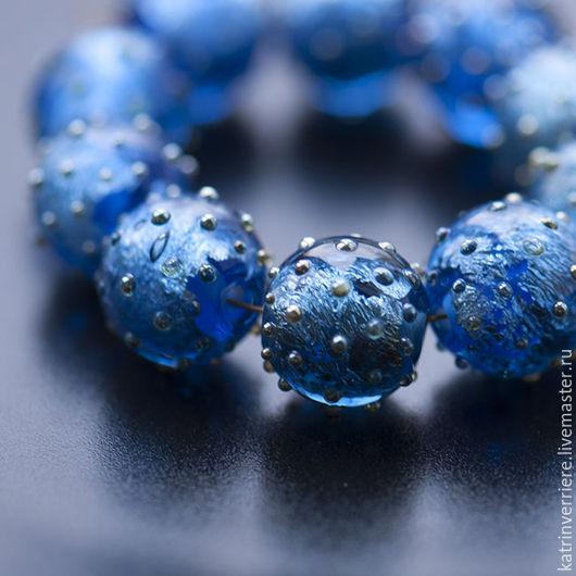 """Для украшений ручной работы. Ярмарка Мастеров - ручная работа. Купить Бусины """"Синее серебро"""". Handmade. Синий, ночное небо"""