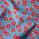 """Шитье ручной работы. Заказать Хлопок 100% """"Красные цветочки на васильковом"""" (арт.3713) Корея. 'Яркие ткани'. Ярмарка Мастеров."""