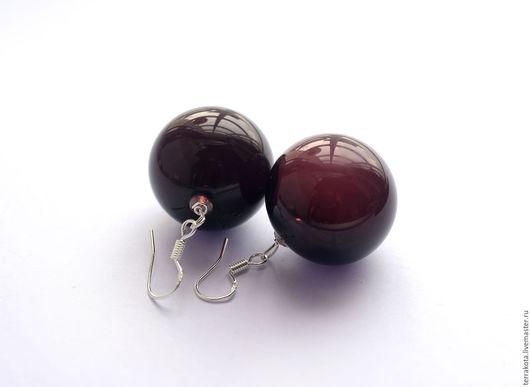 """Серьги ручной работы. Ярмарка Мастеров - ручная работа. Купить Серьги """"Черная вишня"""" лэмпворк. Handmade. Лэмпворк"""