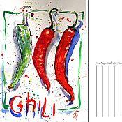 Открытки ручной работы. Ярмарка Мастеров - ручная работа Открытки: Перцы Чили. Handmade.