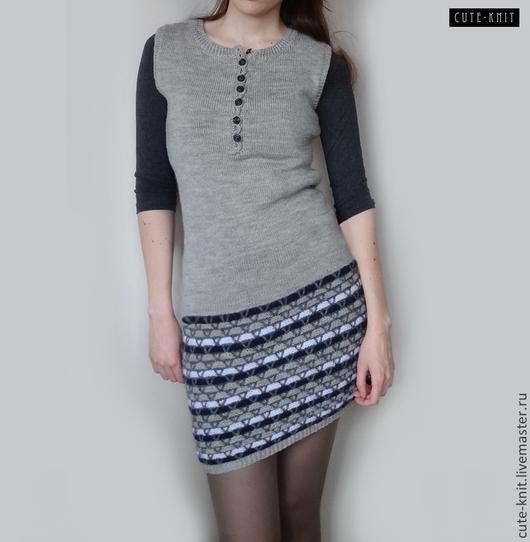 Чтобы рассмотреть модель нажмите на фото CUTE-KNIT Ярмарка мастеров Ната Онипченко Купить серое мини платье вязаное