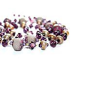 Колье сотуар,лэмпворк,чешское стекло,серебро 925, сиреневый, фиолетовы