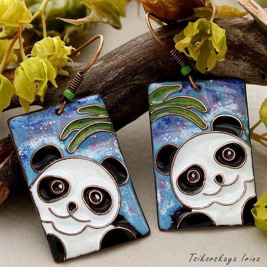 """Серьги ручной работы. Ярмарка Мастеров - ручная работа. Купить Серьги """"Панда"""". Handmade. Голубой, с пандой, серёжки с пандами, медь"""