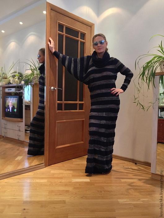 """Платья ручной работы. Ярмарка Мастеров - ручная работа. Купить Платье вязаное """"Ассиметрия"""". Handmade. Тёмно-синий, ассиметрия, люрекс"""