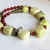 Украшения handmade. Livemaster - original item necklace made of Jade and Carnelian. Handmade.