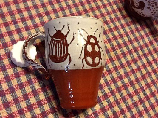 Кружки и чашки ручной работы. Ярмарка Мастеров - ручная работа. Купить Чашка с жуками. Handmade. Чашка чайная, кружка