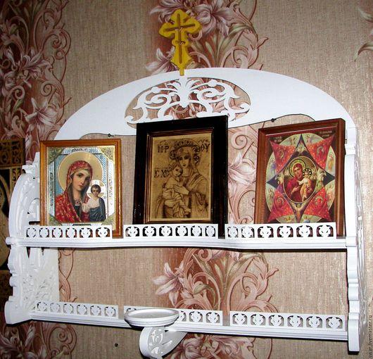Мебель ручной работы. Ярмарка Мастеров - ручная работа. Купить полка для икон. Handmade. Полка деревянная, иконостас, фанера