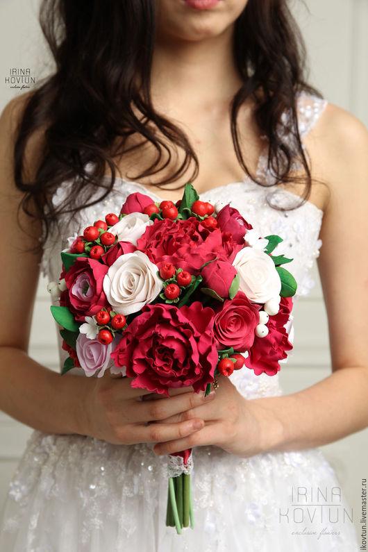 """Свадебные цветы ручной работы. Ярмарка Мастеров - ручная работа. Купить Букет для невесты """"Красный пион"""". Handmade. Ярко-красный"""