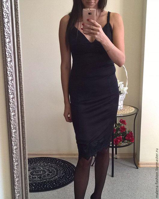 Платья ручной работы. Ярмарка Мастеров - ручная работа. Купить Платье комбинация, вечернее платье, коктейльное платье. Handmade. Черный