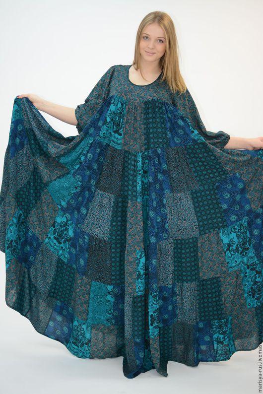 """Платья ручной работы. Ярмарка Мастеров - ручная работа. Купить Лоскутное платье """"Хозяйка медной горы"""". Handmade. Тёмно-зелёный"""