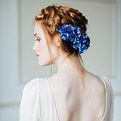Свадебный салон ручной работы. Ярмарка Мастеров - ручная работа Цветы из шелка - гребень с гортензией, цветок в прическу для невесты. Handmade.