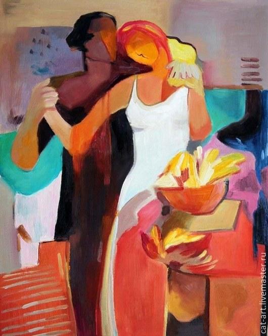Абстракция ручной работы. Ярмарка Мастеров - ручная работа. Купить Нежность - картина маслом ручной работы на холсте. Handmade. Красный