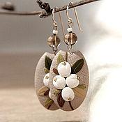 Украшения handmade. Livemaster - original item Earrings with white berries of the Snowberry polymer clay. Handmade.