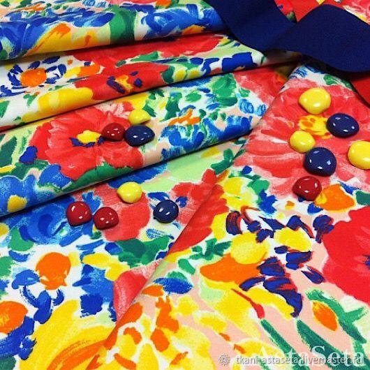 Батист сине-желтые цветы, Ткани, Москва,  Фото №1