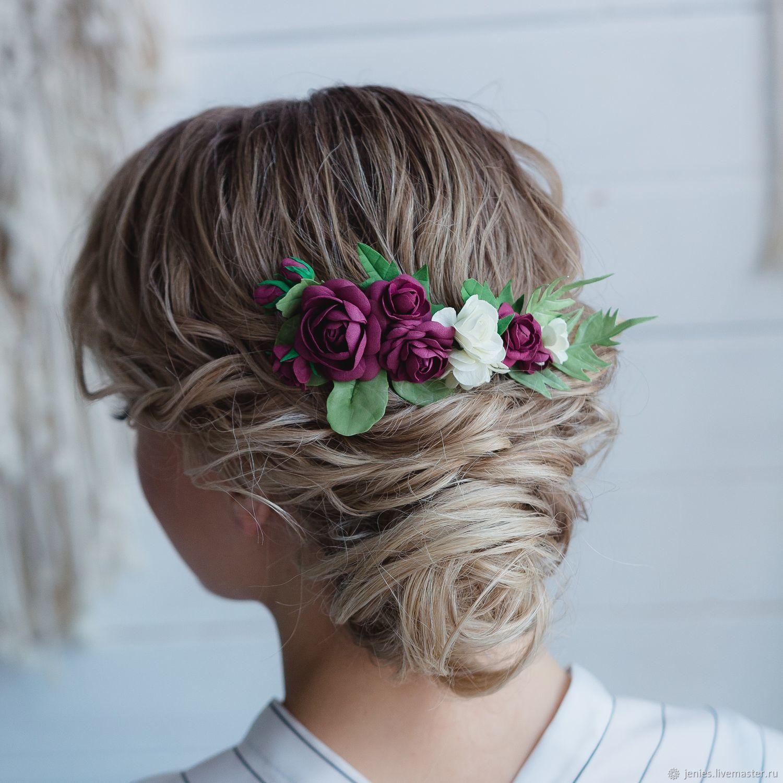 Burgundy hair accessories, bridal headpiece floral, burgundy hair comb, Hair Decoration, Tomsk,  Фото №1