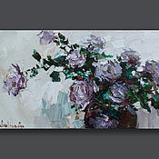 Картины и панно handmade. Livemaster - original item Purple roses in a vase  Still life painting - Original oil painting. Handmade.