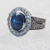Украшения handmade. Livemaster - original item Ring of white gold with sapphire and diamonds. Handmade.