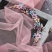 Диадемы ручной работы. Ярмарка Мастеров - ручная работа Диадемы: Цветочная веточка в розовых, голубых и фиолетовых оттенках. Handmade.