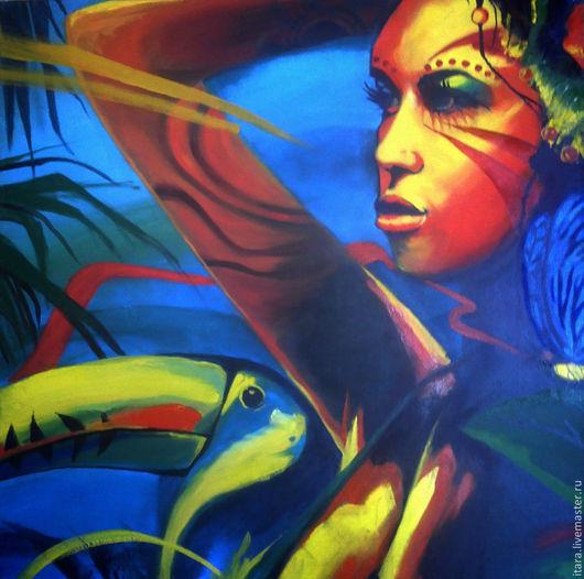 """Этно ручной работы. Ярмарка Мастеров - ручная работа. Купить Картина """"Девушка с туканом"""" (холст, масло, 60х60см). Handmade. Разноцветный"""