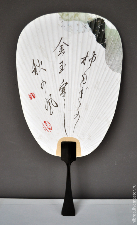 Веера ручной работы. Ярмарка Мастеров - ручная работа. Купить Веер с трехстишием (хокку). Handmade. Разноцветный, японский веер, бамбук