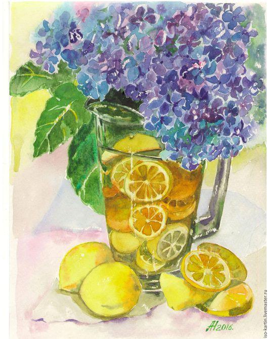 """Натюрморт ручной работы. Ярмарка Мастеров - ручная работа. Купить Картина акварелью """"Лимонад с гортензией"""". Handmade. Желтый, лимоны, гортензия"""