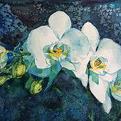 Картины и панно handmade. Livemaster - original item Painting watercolor White Orchid. Handmade.