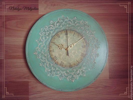 """Часы для дома ручной работы. Ярмарка Мастеров - ручная работа. Купить Часы настенные """"Винтаж"""". Handmade. Мятный, подарок девушке"""
