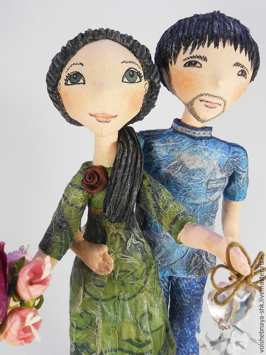 """Коллекционные куклы ручной работы. Ярмарка Мастеров - ручная работа. Купить Интерьерная композиция """"Пара"""", грунтованный текстиль, статуэтка. Handmade."""