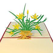 Подарки на 8 марта ручной работы. Ярмарка Мастеров - ручная работа Нарциссы - 3D открытка ручной работы. Handmade.