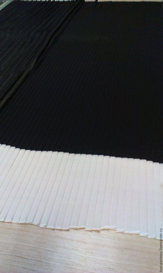 Шитье ручной работы. Ярмарка Мастеров - ручная работа. Купить Ткань плиссе чёрно-белая. Handmade. Чёрно-белый, шифон