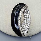 Украшения handmade. Livemaster - original item Silver ring with black onyx 34h10 mm and cubic zirconia. Handmade.