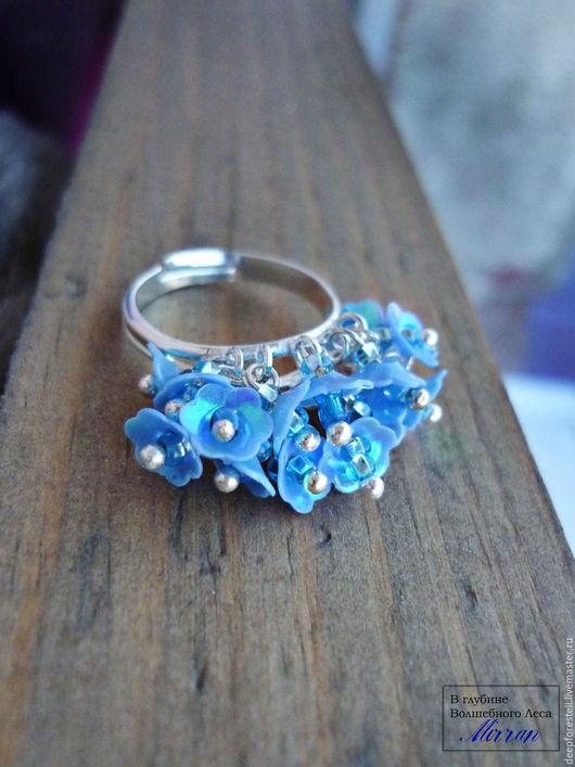 Кольца ручной работы. Ярмарка Мастеров - ручная работа. Купить Голубые колокольчики весеннего половодья. Кольцо с цветами.Голубой. Handmade.