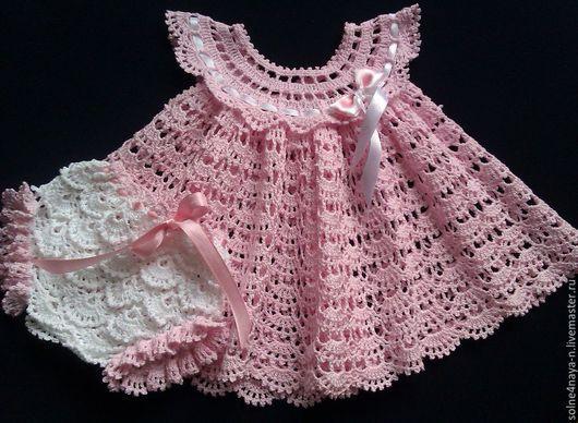 """Одежда для девочек, ручной работы. Ярмарка Мастеров - ручная работа. Купить Комплект из платья и трусиков на памперс """"Зефиринка"""". Handmade."""