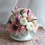 """Цветы и флористика ручной работы. Ярмарка Мастеров - ручная работа Чашечка """"50 оттенков розового """". Handmade."""