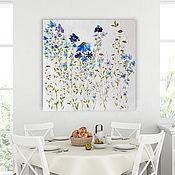Картины и панно handmade. Livemaster - original item Cornflowers bouquet of flowers White oil painting Texture painting. Handmade.