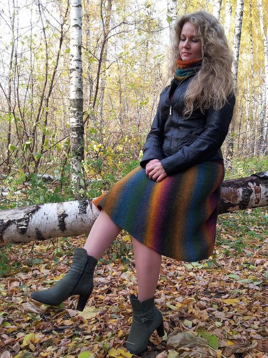 Юбки ручной работы. Ярмарка Мастеров - ручная работа. Купить Вязаная юбка Осенняя радуга. Handmade. Юбка, теплая юбка