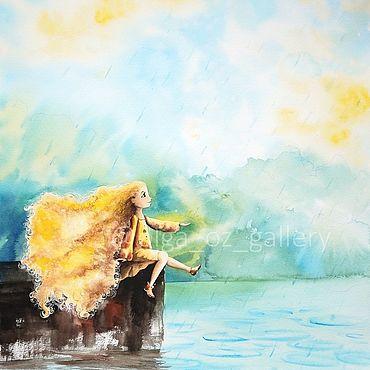 Картины и панно ручной работы. Ярмарка Мастеров - ручная работа Маленькие радости. Лето - акварельная картина, детская. Handmade.
